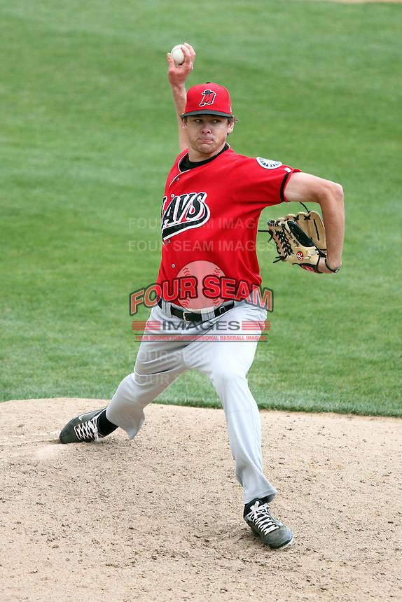 Austin Hudson #25 of the High Desert Mavericks pitches against the Rancho Cucamonga Quakes at The Epicenter in Rancho Cucamonga,California on May 8, 2011. Photo by Larry Goren/Four Seam Images
