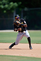 Pittsburgh Pirates second baseman Norkis Marcos (72) throws to first base during a Florida Instructional League game against the Toronto Blue Jays on September 20, 2018 at the Englebert Complex in Dunedin, Florida.  (Mike Janes/Four Seam Images)