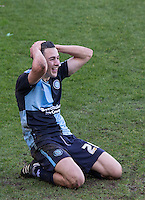 Luke O'Nien of Wycombe Wanderers reaction after going close during the Sky Bet League 2 match between Wycombe Wanderers and Mansfield Town at Adams Park, High Wycombe, England on 25 March 2016. Photo by Andy Rowland.