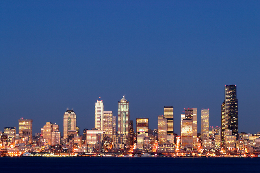 Seattle skyline and Elliot Bay viewed from West Seattle, Seattle, Washington, USA