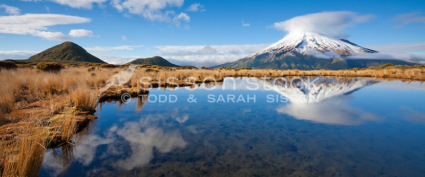 Mt Egmont reflected in the Pouakai Tarns, early morning, Taranaki, North Island, New Zealand - stock photo, fine art, canvas print