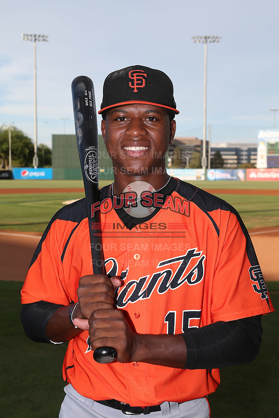 Jalen Miller (15) of the AZL Giants poses for a photo before a game against the AZL Angels at Tempe Diablo Stadium on July 6, 2015 in Tempe, Arizona. Angels defeated Giants, 3-1. (Larry Goren/Four Seam Images)