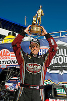 Sept. 6, 2010; Clermont, IN, USA; NHRA top fuel dragster driver Larry Dixon celebrates after winning the U.S. Nationals at O'Reilly Raceway Park at Indianapolis. Mandatory Credit: Mark J. Rebilas-