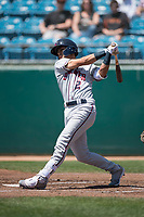 Lancaster JetHawks second baseman Alan Trejo (2) follows through on his swing during a California League game against the San Jose Giants at San Jose Municipal Stadium on May 13, 2018 in San Jose, California. San Jose defeated Lancaster 3-0. (Zachary Lucy/Four Seam Images)