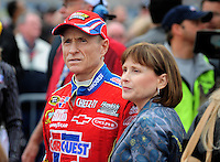 Feb 22, 2009; Fontana, CA, USA; NASCAR Sprint Cup Series driver Mark Martin with wife Arlene Martin during the Auto Club 500 at Auto Club Speedway. Mandatory Credit: Mark J. Rebilas-