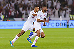 Abdel Aziz Hatim of Qatar (R) celebrates after scoring his goal with his teammates during the AFC Asian Cup UAE 2019 Quarter Finals match between Qatar (QAT) and South Korea (KOR) at Zayed Sports City Stadium  on 25 January 2019 in Abu Dhabi, United Arab Emirates. Photo by Marcio Rodrigo Machado / Power Sport Images
