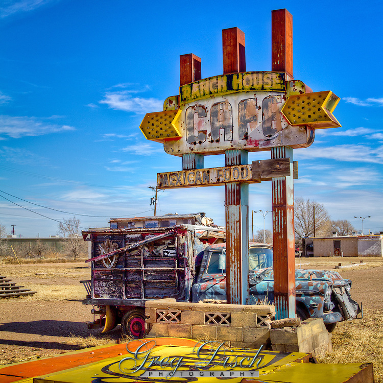 """Relics of more prosporus days in Tucumcari New Mexico, on Route 66. The old Ranch House Cafe in Tucumcari New Mexico, was opened in 1953 by Pearl and Dugan Barnett.  Thier slogan of """"Good Food Always-Always Good Food"""" was not enough to keep the cafe open on the old Route 66."""