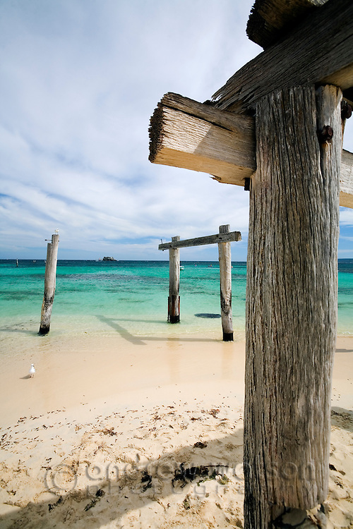 The remnants of an old pier at Hamelin Bay in the Leeuwin-Naturaliste National Park, Western Australia, AUSTRALIA.