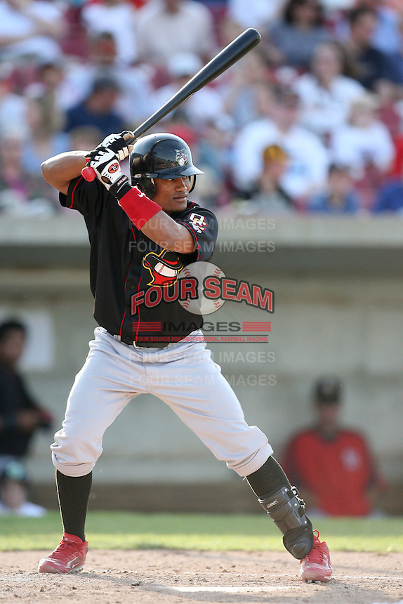 May 25, 2008: Quad Cities River Bandits Luis De La Cruz (17) at bat against the Kane County Cougars at Elfstrom Stadium in Geneva, IL. Photo by: Chris Proctor/Four Seam Images