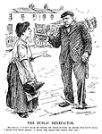 "The Public Benefactor. Mr Smillie. ""I can't bear to think of your paying so much for your coal. I must put that right. I must see that you don't get any."" (Robert Smillie talks to a housewife with an empty coal shovel in the InterWar era)"