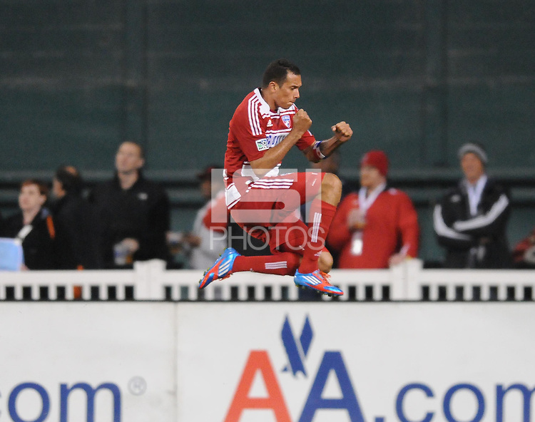 FC. Dallas forward Blas Perez celebrates his score in the 41th minute of the game.  D.C. United defeated FC Dallas 4-1 at RFK Stadium, Friday March 30, 2012.