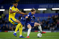 Conor Gallagher of Chelsea shields the ball from AFC Wimbledon's Jake Jervis during Chelsea Under-21 vs AFC Wimbledon, Checkatrade Trophy Football at Stamford Bridge on 4th December 2018