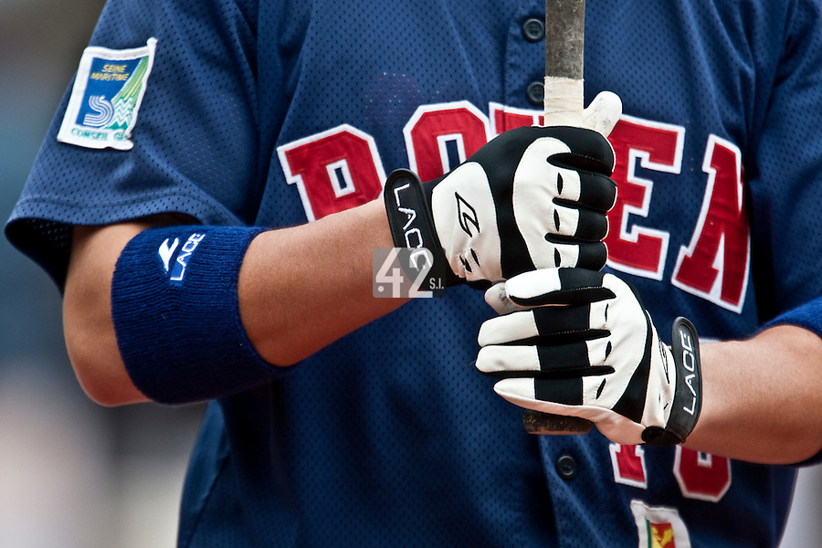 03 october 2009: Close view of Boris Marche glove and wrist band from Lace prior to game 1 of the 2009 French Elite Finals won 6-5 by Rouen over Savigny in the 11th inning, at Stade Pierre Rolland stadium in Rouen, France.