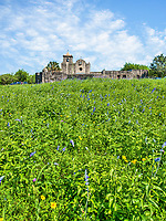 "This is another capture of Presidio La Bahí in Goliad on a spring day with wild savia growing in front along with some other wildflowers.The history of the Presidio Nuestra Señora de Loreto de la Bahía, known more commonly as Presidio La Bahia, is a fort constructed by the Spanish Army that became the nucleus of the modern-day city of Goliad, Texas, United States. Originally founded in 1721 on the ruins of the failed French Fort Saint Louis, the presidio was moved to a location on the Guadalupe River in 1726. In 1747, the presidio and its mission were moved to their current location on the San Antonio River. By 1771, the presidio had been rebuilt in stone and had become ""the only Spanish fortress for the entire Gulf Coast from the mouth of the Rio Grande to the Mississippi River"".[3] The civilian settlement, later named Goliad, sprang up around the presidio in the late 18th century; the area was one of the three most important in Spanish Texas."