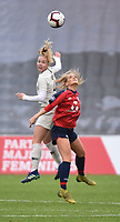 20190113 - LILLE , FRANCE : LOSC's Danielle Tolmais (R) and PSG's Paulina Dudek (L) pictured during women soccer game between the women teams of Lille OSC and Paris Saint Germain  during the 16 th matchday for the Championship D1 Feminines at stade Lille Metropole , Sunday 13th of January 2019,  PHOTO Dirk Vuylsteke | Sportpix.Be
