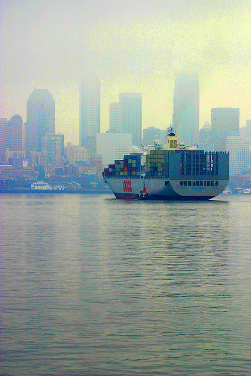 Seattle, Port of Seattle, container ship, international shipping, trade, Elliott Bay, Puget Sound, Washington State, Pacific Northwest,