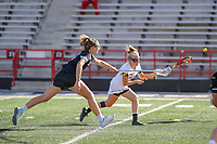 College Park, MD - April 27, 2019: Maryland Terrapins attack Caroline Steele (11) scores a goal during the game between John Hopkins and Maryland at  Capital One Field at Maryland Stadium in College Park, MD.  (Photo by Elliott Brown/Media Images International)