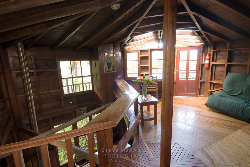 "Interior view of beautiful wood ""off the grid"" cabins at Los Quetzales, Parque Internacional La Amistad, Cerro Punta, Volcan Baru, Panama"
