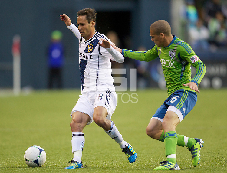 Seattle Sounders FC and the Los Angeles Galaxy play in an MLS games at CenturyLink Field in Seattle Wednesday May 2, 2012. The Sounders won the match 2-0.