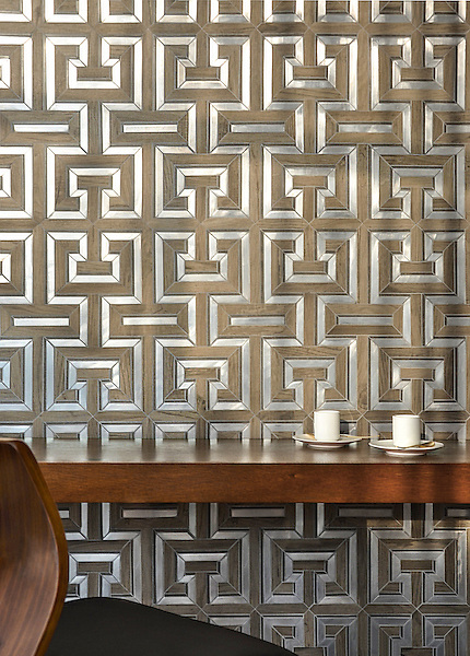 Theseus, a handmade mosaic shown in ceramic Ironwood, brushed Aluminum and honed Montevideo. Designed by Sara Baldwin for New Ravenna.<br />