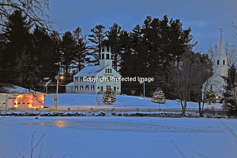 Evening Christmas Lights in the Village of Marlow, New Hampshire