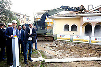 Nicola Zingaretti, President of Lazio Region and Matteo Salvini, minister of Internal Affairs<br /> Roma 26/11/2018. Demolizione di una villa del clan malavitoso della famiglia Casamonica alla Romanina, Roma est. I Casamonica sono associati al crimine nella periferia sud est di Roma.<br /> Rome November 26th 2018. Another Casamonica mobster clan villa being demolished. Army started the demolition of an illegally built villa belonging to members of the Casamonica criminal clan.  The Casamonica family has been associated with crime in the south-eastern quarters of Rome for several decades.<br /> Foto Samantha Zucchi Insidefoto