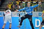 Rhein-Neckar Loewe Mikael Appelgren (Nr.1)  beim Spiel im DHB Pokal, Rhein Neckar Loewen - SC DHfK Leipzig.<br /> <br /> Foto &copy; PIX-Sportfotos *** Foto ist honorarpflichtig! *** Auf Anfrage in hoeherer Qualitaet/Aufloesung. Belegexemplar erbeten. Veroeffentlichung ausschliesslich fuer journalistisch-publizistische Zwecke. For editorial use only.