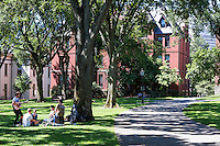 Attractive campus and student life in the commons, Brown university, Providence, Massachusetts, USA