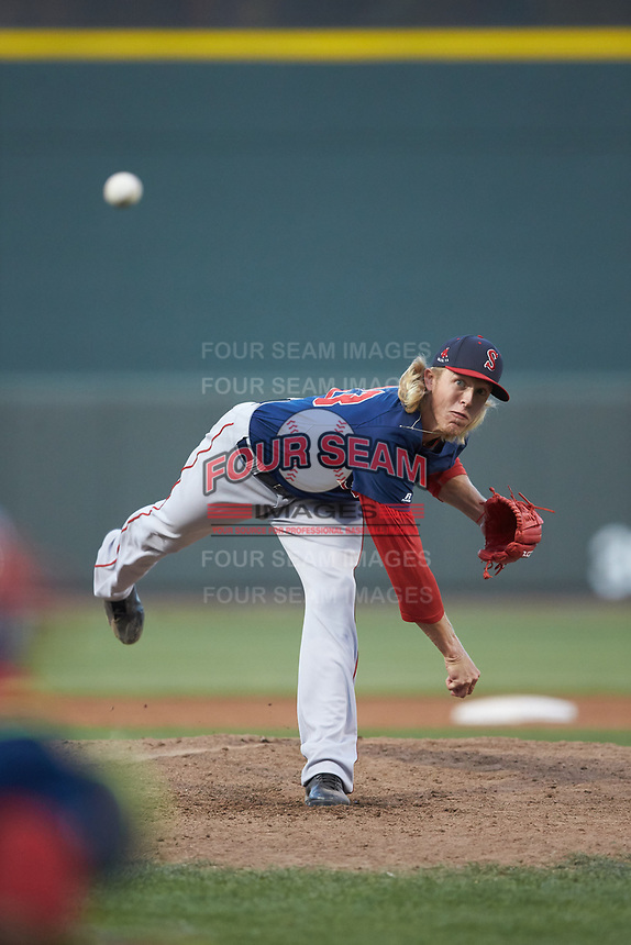 Salem Red Sox relief pitcher Jordan Weems (23) delivers a pitch to the plate against the Winston-Salem Dash at BB&T Ballpark on April 21, 2018 in Winston-Salem, North Carolina.  The Dash walked-off the Red Sox 4-3.  (Brian Westerholt/Four Seam Images)