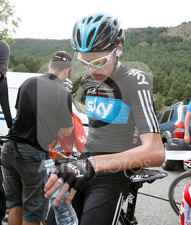 Christopher Froome after the stage of La Vuelta 2012 between Lleida-Lerida and Collado de la Gallina (Andorra).August 25,2012. (ALTERPHOTOS/Acero)