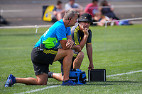 Hurricanes assistant coaches Richard Watt (left) and Jason Holland during the Super Rugby preseason match between the Hurricanes and Crusaders at Levin Domain in Levin, New Zealand on Saturday, 2 February 2019. Photo: Dave Lintott / lintottphoto.co.nz