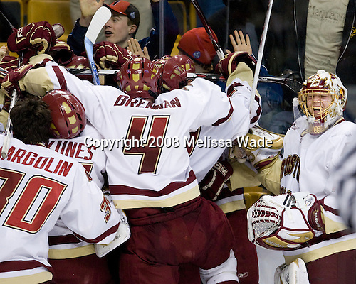 Boston College celebrates the win. The Boston College Eagles defeated the Boston University Terriers 4-3 in overtime in their first Monday Beanpot matchup on February 4, 2008 at the TD Banknorth Garden in Boston, Massachusetts.