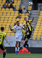 Wellington Phoenix&rsquo; Goran Paracki and Western Sydney Wanderers FC&rsquo;s Kearyn Baccus in action during the A League - Wellington Phoenix v Western Sydney Wanderers FC at Westpac Stadium, Wellington, New Zealand on Saturday 13 January 2018. <br /> Photo by Masanori Udagawa. <br /> www.photowellington.photoshelter.com