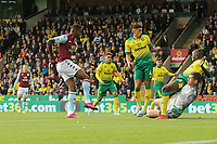 Wesley of Aston Villa in action set himself to score the opening goal during Norwich City vs Aston Villa, Premier League Football at Carrow Road on 5th October 2019