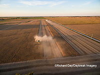 63801-08904 Soybean Harvest, 2 John Deere combines harvesting soybeans - aerial - Marion Co. IL