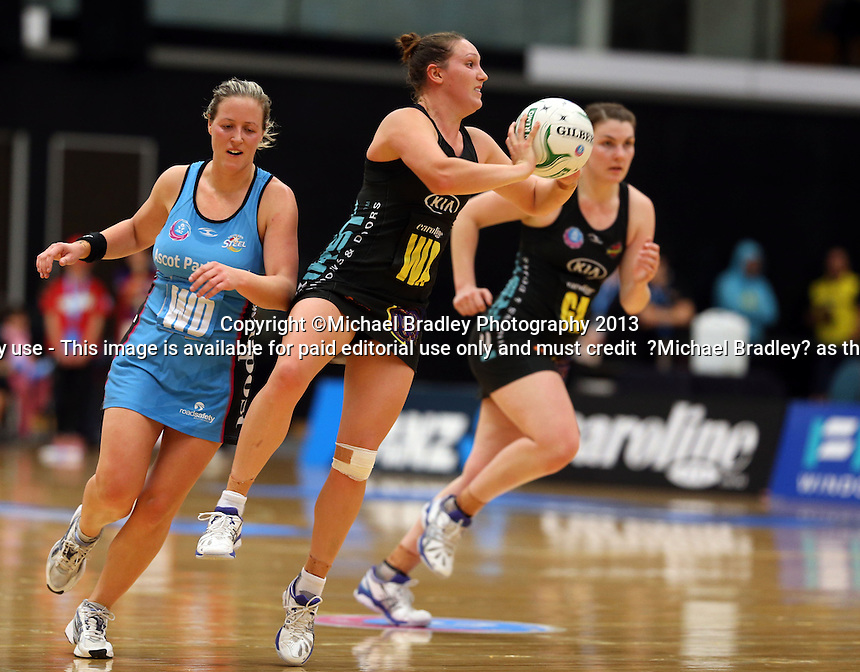 02.06.2013 Magic's Khao Watts in action during the ANZ Champs netball match between the Magic and Steel played at Rotorua Events Centre in Rotorua. Mandatory Photo Credit ©Michael Bradley.