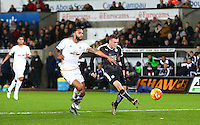Jamie Vardy of Leicester City shoots ober when through on goal during the Barclays Premier League match between Swansea City and Leicester City played at The Liberty Stadium on 5th December 2015