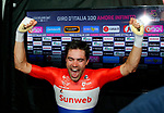 Tom Dumoulin (NED) Team Sunweb realises he's won the 2017 Giro d'Italia at the end of Stage 21, the final stage of the 100th edition of the Giro d'Italia 2017, an individual time trial running 29.3km from Monza Autodrome to Milan Duomo, Italy. 28th May 2017.<br /> Picture: LaPresse | Cyclefile<br /> <br /> <br /> All photos usage must carry mandatory copyright credit (&copy; Cyclefile | LaPresse)