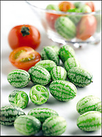BNPS.co.uk (01202 558833).Pix: Suttons/BNPS..Strange Fruit - Cucamelons are hending for a garden near you...An exotic plant that produces a miniature watermelon-like fruit has been launched in Britain for the first time and is set to transform the traditional salad...The cucamelon looks like a tiny version of the juicy football-sized fruit but when eaten it has the distinctive taste of a cucumber with a hint of lime...They are used in salsa, can be pickled, or eaten on their own and have been used in Mexico for centuries...Despite being stocked by some supermarkets the unusual crop, often known as a mouse melon or Mexican sour gherkin, is rarely seen in British gardens...A company has begun selling seeds to the cucamelon plant - Melothria scabra in Latin - as well as providing bulbs to the public...Devon-based Suttons Seeds have brought the cucamelon plant to the UK in conjuction with James Wong, a garden designer and television presenter, and his new book..