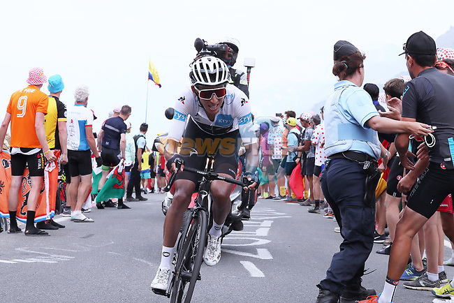 White Jersey Egan Bernal (COL) Team Ineos summits the Col du Galibier during Stage 18 of the 2019 Tour de France running 208km from Embrun to Valloire, France. 25th July 2019.<br /> Picture: ProShots/George Deswijzen | Cyclefile<br /> All photos usage must carry mandatory copyright credit (© Cyclefile | ProShots/George Deswijzen)