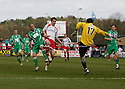 Danny Ireland of Forest Green Rovers (on loan from Coventry) clears from Tim Sills of Stevenage Borough during the Blue Square Premier match between Stevenage Borough and Forest Green Rovers at the Lamex Stadium, Broadhall Way, Stevenage on Saturday 10th April, 2010 ..© Kevin Coleman 2010