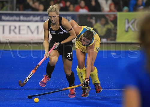 09.04.2016. Hastings, New Zealand.  New Zealand's Stacey Michelsen in action. NZL Black Sticks Women versus  Australia. Semi final, Festival of Hockey, Unison Hockey turf, Hastings, New Zealand. Saturday, 09 April, 2016.