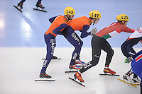 "SHORT TRACK: MOSCOW: Speed Skating Centre ""Krylatskoe"", 14-03-2015, ISU World Short Track Speed Skating Championships 2015, Semifinals Relay Men, Sjinkie KNEGT (#148), Mark PRINSEN (#149), NETHERLANDS, ©photo Martin de Jong"