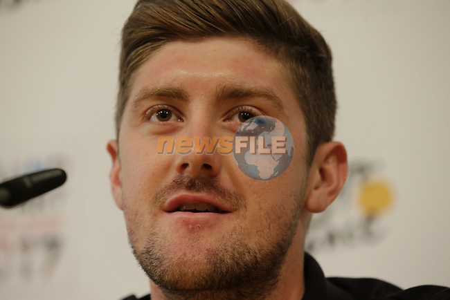 Luke Durbridge (AUS) Orica-Scott press conference in Dusseldorf before the 104th edition of the Tour de France 2017, Dusseldorf, Germany. 29th June 2017.<br /> Picture: Eoin Clarke | Cyclefile<br /> <br /> <br /> All photos usage must carry mandatory copyright credit (&copy; Cyclefile | Eoin Clarke)