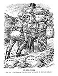 "Up-Hill Work. John Bull. "" Even though it's only half a league, it must go onward."" (John Bull pushes the League of Nations cart uphill with the heavy sacks of European countries onboard, but Japan and Germany have fallen off)"
