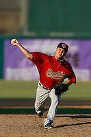 Eddie McKiernan #38 of the Visalia Rawhide pitches against the Inland Empire 66ers at San Manuel Stadium on August 11, 2013 in San Bernardino, California. Visalia defeated Inland Empire, 11-1. (Larry Goren/Four Seam Images)