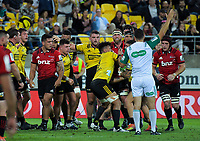 Referee Ben O'Keefe awards a penalty to the Hurricanes during the Super Rugby match between the Hurricanes and Crusaders at Westpac Stadium in Wellington, New Zealand on Friday, 29 March 2019. Photo: Dave Lintott / lintottphoto.co.nz