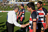 Milton Haig congratulates Json Roache on his Steelers debut and a win. Air New Zealand Cup rugby game between the Counties Manukau Steelers & Manawatu Turbos, played at Growers Stadium Pukekohe on Staurday September 20th 2008..Counties Manukau won 27 - 14 after trailing 14 - 7 at halftime.