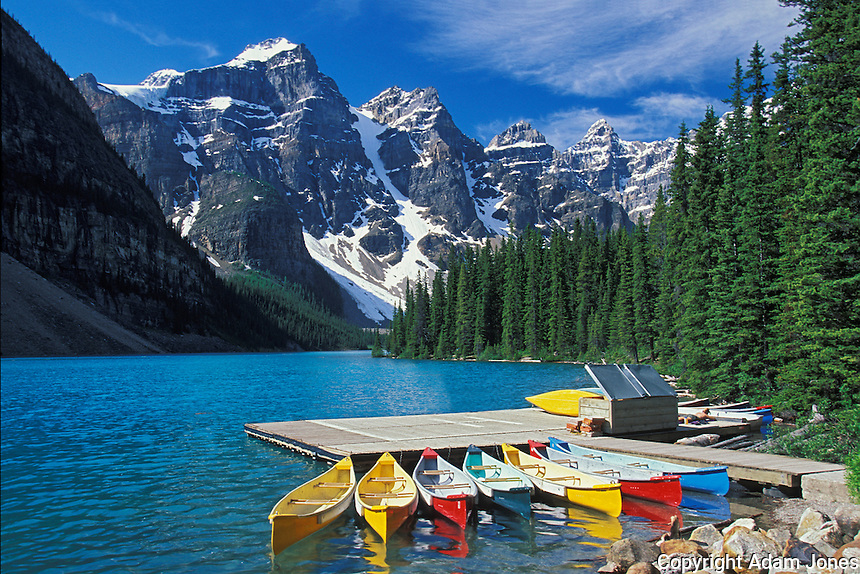 Canoes for rent on Moraine Lake, Banff National Park, Alberta, Canada
