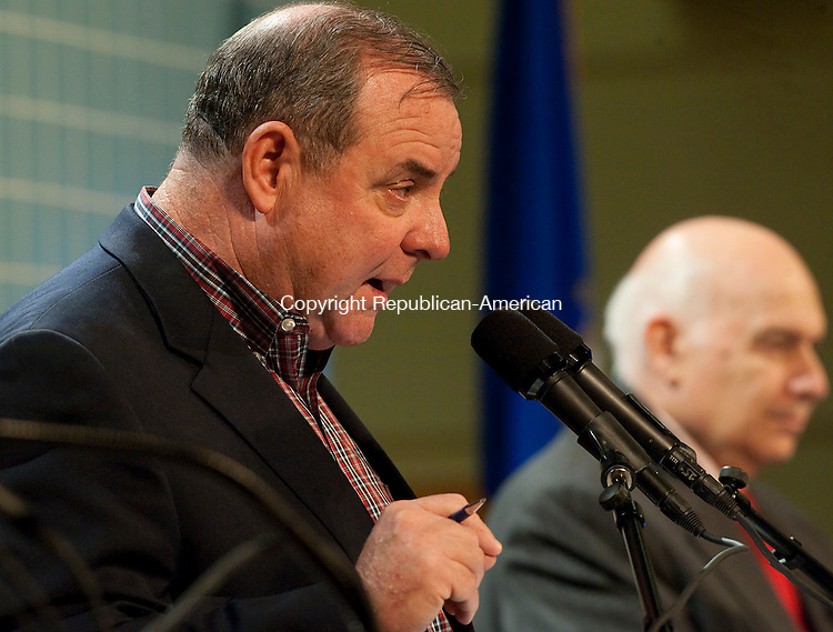 WATERBURY, CT--- -102115JS28---Democrat Mayoral candidate Neil M. O'Leary, left, answers a questions during a debate on education Wednesday at Waterbury Arts Magnet School. <br /> Jim Shannon Republican-American